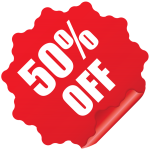50 Off Sticker PNG Clipart Image